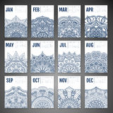 Vector Calendar 2016. Calendar 2016. Vintage decorative elements. Ornamental floral business cards, oriental pattern, vector illustration Stock Photography