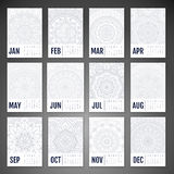 Vector Calendar 2016. Calendar 2016. Vintage decorative elements. Ornamental floral business cards, oriental pattern, vector illustration Stock Images