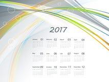 Vector calendar for 2017. 2017 vector wavy  calendar design. Elements for your work. Eps10 Royalty Free Stock Photography