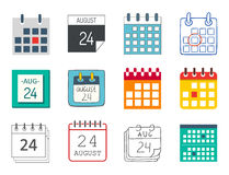 Vector calendar web icons office organizer business graphic paper plan appointment and pictogram reminder element  Royalty Free Stock Photos