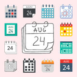 Vector calendar web icons office organizer business graphic paper plan appointment and pictogram reminder element for Royalty Free Stock Photos