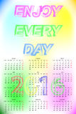 Vector Calendar 2016. Week Starts Monday. Vector Enjoy Every Day Text Calendar 2016. Vector Template With Blured Background. Week Starts Monday Stock Photography