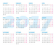 Vector 2017 calendar weeks start monday. Simple vector 2017 calendar weeks start from monday Stock Image