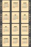 Vector calendar 2017 Royalty Free Stock Photo