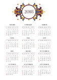 Vector calendar for 2018 on white background. Vector calendar for 2018 on white background with elegant vignettes. Floral Eastern decor. Template with week Royalty Free Stock Photos