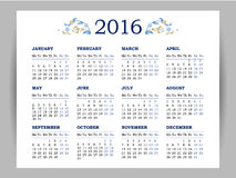 Vector calendar for 2016 on white background. Floral decor. Template with week starts Monday Royalty Free Illustration