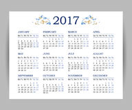 Vector calendar for 2017 on white background. Floral decor. Template with week starts Monday Stock Photo