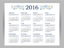 Vector calendar for 2016 on white background. Floral decor. Template with week starts Sunday Vector Illustration