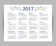 Vector calendar for 2017 on white background. Floral decor. Template with week starts Sunday Stock Photography