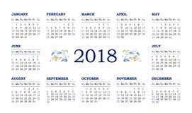 Vector calendar for 2018 on white background. Vector horizontal calendar for 2018 on white background with elegant vignettes. Floral decor and simple calendar Royalty Free Stock Photography