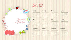 Vector calendar wuth place for photo beige Royalty Free Stock Photography