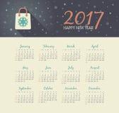 Vector Calendar 2017 year with christmas bag. Modern vector Calendar 2017 year with christmas bag . Week Starts Sunday, eps 10 Stock Images