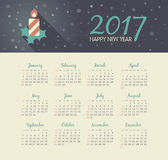 Vector Calendar 2017 year with christmas candle. Modern vector Calendar 2017 year with christmas candle . Week Starts Sunday, eps 10 Stock Images