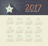 Vector Calendar 2017 year with christmas star. Modern vector Calendar 2017 year with christmas star. Week Starts Sunday, eps 10 Stock Images
