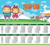 Vector calendar 2018 year. Royalty Free Stock Image