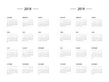 Calendar 2018 2019 year template. Vector calendar for 2018 and 2019 year. Day planner the scheduler in this minimalist for print on a white background Royalty Free Stock Photography