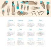 Vector Calendar 2017 year with feathers Stock Photos