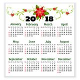 Vector calendar 2018 year with flowers of poinsettia. Week start. S from sunday Royalty Free Stock Photo