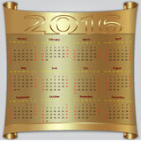 Vector calendar for 2016 year, gold metallic. Vector calendar for 2016 year,  Sunday first, american week, 12 months, gold metallic scroll Stock Images
