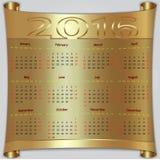 Vector calendar for 2016 year, gold metallic Stock Images
