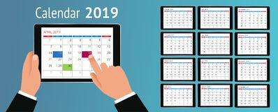 Vector Calendar for 2019 year. Hand with a smartphone with a calendar, one month plans. Design print template. Set of 12. Calendar pages. Stationery design Stock Images