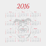 Vector calendar 2016. The year of monkey. Silhouette. Format eps10. Silhouette calendar 2016. The year of monkey Stock Photos