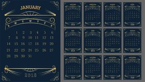 Vector of Calendar 2018 year ,12 month calendar with Gold Vintag. E ornamental frame,week start at Sunday Stock Illustration