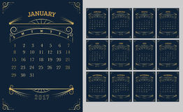 Vector of Calendar 2017 year ,12 month calendar with Gold Vintag. E ornamental frame,week start at Sunday Royalty Free Stock Photo