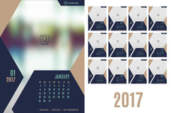 Vector of Calendar 2017 year ,12 month calendar with modern navy. Blue color style,week start at Sunday,Template for place your photo Stock Photos