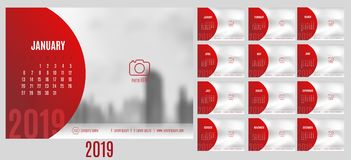 Vector of Calendar 2019 year with 12 month calendar with modern. Style,week start at Sunday,Template for place your photo Stock Illustration