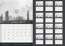 Vector of Calendar 2017 year ,12 month calendar set with modern. Style,week start at Sunday,Template for place your photo Stock Images