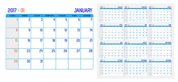 Vector of Calendar 2017 year ,12 month calendar with simple basi Royalty Free Stock Photo