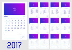 Vector of Calendar 2017 year ,12 month calendar. With simple basic style with note line,week start at Sunday,Template for adding your photo Stock Photos