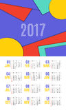 Vector of Calendar 2017 year ,12 month calendar with vivid mater. Ial design style,week start at Sunday Royalty Free Stock Image