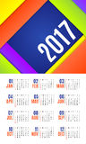 Vector of Calendar 2017 year ,12 month calendar with vivid mater. Ial design style,week start at Sunday Royalty Free Stock Images