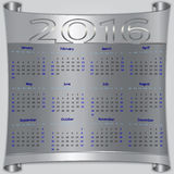 Vector calendar for 2016 year, silver metallic. Vector calendar for 2016 year,  Sunday first, american week, 12 months, silver metallic scroll Stock Photo