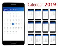 Vector Calendar for 2019 year. Smartphone with a calendar, one month plans. Design print template. Set of 12 calendar. Pages. Stationery design Royalty Free Stock Images