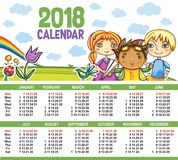 Vector calendar 2018 year. Royalty Free Stock Images