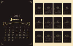 Vector of Calendar 2017 year with vintage ornament decoration. Gold color on dark brown background,Holiday festive concept,start with sunday Royalty Free Stock Photography