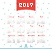 Vector Calendar 2017 year. Week Starts Sunday. Modern vector Calendar 2017 year. Week Starts Sunday, eps 10 Stock Photo