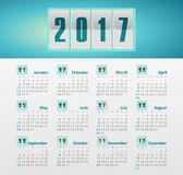 Vector Calendar 2017 year. Week Starts Sunday. Modern vector Calendar 2017 year. Week Starts Sunday, eps 10 Stock Images