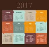 Vector Calendar 2017 year. Week Starts Sunday. Modern vector Calendar 2017 year. Week Starts Sunday, eps 10 Royalty Free Stock Photo