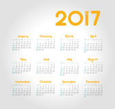 Vector Calendar 2017 year. Week Starts Sunday. Modern vector Calendar 2017 year. Week Starts Sunday, eps 10 Royalty Free Stock Images
