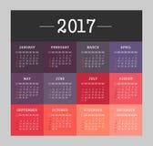 Vector Calendar 2017 year. Week Starts Sunday. Modern vector Calendar 2017 year. Week Starts Sunday, eps 10 Stock Image