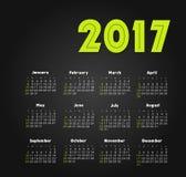 Vector Calendar 2017 year. Week Starts Sunday. Modern vector Calendar 2017 year. Week Starts Sunday, eps 10 Stock Photos