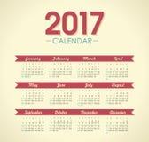 Vector Calendar 2017 year. Week Starts Sunday. Modern vector Calendar 2017 year. Week Starts Sunday, eps 10 Royalty Free Stock Image