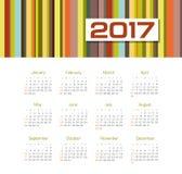 Vector Calendar 2017 year. Week Starts Sunday. Modern vector Calendar 2017 year. Week Starts Sunday, eps 10 Royalty Free Stock Photos