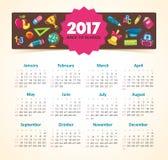 Vector Calendar 2017 year. Week Starts Sunday. Modern vector Calendar 2017 year. Week Starts Sunday, eps 10 Stock Photography