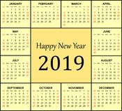 2019 calendar in yellow background. royalty free stock photography
