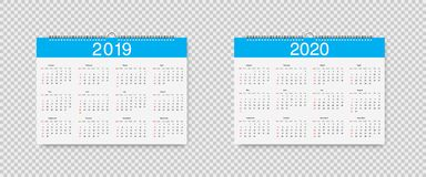 Vector Calendar of 2019 and 2020 years. Template Loose-leaf Calendars for 2019 and 2020 with pointers holidays. Week starts on royalty free illustration